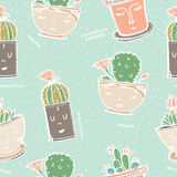 Seamless pattern with cactus in pot with face. Royalty Free Stock Photo