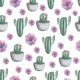 Seamless pattern with cactus in pot and purple succulents. Hand drawn illustration in trendy cute cartoon style. royalty free illustration