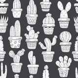 Seamless pattern with cactus in pots black and white Stock Photo