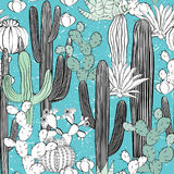 Seamless pattern with cactus. Wild cacti forest Stock Image
