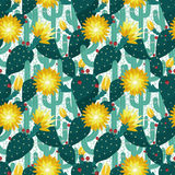 Seamless pattern from cactuses Royalty Free Stock Photography