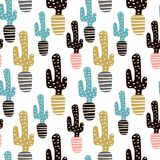 Seamless pattern with cactuses and hand drawn textures.Perfect for fabric,textile. Creative Vector background.  Stock Image