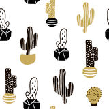 Seamless pattern with cactuses and hand drawn textures.Perfect for fabric,textile. Creative Vector background Stock Photography