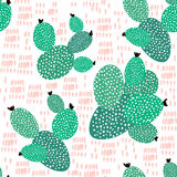 Seamless pattern with cactuses and hand drawn textures.Perfect for fabric,textile. Creative Vector background Royalty Free Stock Photos