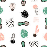 Seamless pattern with cactuses and hand drawn textures.Perfect for fabric,textile.Vector background Stock Image