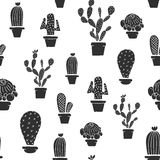 Seamless pattern - Cactuses in the pots Royalty Free Stock Images