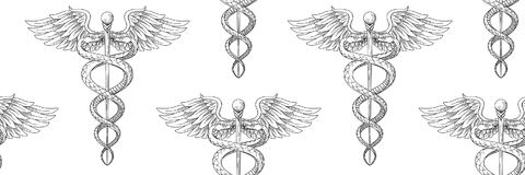 Seamless pattern of Cadeus Medical medecine pharmacy doctor acie Royalty Free Stock Photography