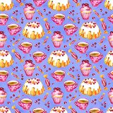 Seamless pattern of a cake, cupcake and cranberry. Picture of a dessert.Watercolor hand drawn illustration.White. Seamless pattern of a cake, cupcake and royalty free illustration