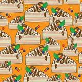 Seamless pattern cake on orange Royalty Free Stock Photography