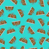 Seamless pattern cake in turquoise background Stock Photo