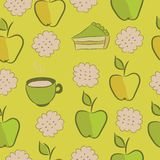 Seamless pattern with cakes, apple and tea. Royalty Free Stock Photography