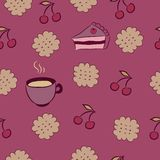 Seamless pattern with cakes, cherry and coffee. Stock Image