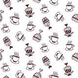 Seamless pattern with cakes and coffee cups Stock Photography