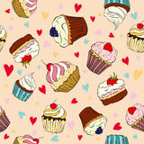 Seamless pattern with cakes Royalty Free Stock Images