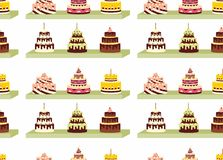 Seamless pattern with cakes with cream for birthdays, weddings, anniversaries and other celebrations. Stock Photography