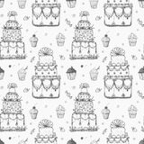 Seamless pattern with cakes and cupcakes. Stock Images