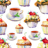 Background with cakes and cups. Royalty Free Stock Photo
