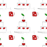 Seamless pattern with cakes and cups Stock Photography