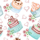 Seamless pattern with cakes decorated with flowers and hearts Royalty Free Stock Photo