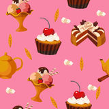 Seamless pattern of cakes and desserts Royalty Free Stock Photos