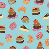 Seamless pattern with cakes and desserts. Stock Photography