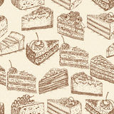 Seamless pattern with cakes in doodle vintage style. Stock Photo