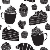 Seamless  pattern with cakes in doodle vintage style on white background. Stock Image