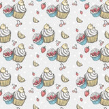 Seamless pattern with cakes and fruits.  Royalty Free Stock Images