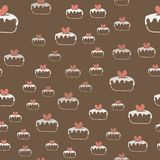 Seamless pattern with cakes and hearts . Vector. royalty free illustration