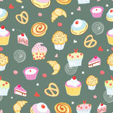 Seamless pattern of cakes and pastries Royalty Free Stock Images