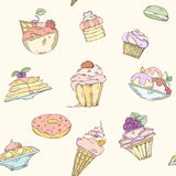 Seamless pattern of cakes. Pies and ice cream. Cake and ice cream pattern can be used for wallpaper, website background, wrapping paper. Hand drawn illustration Royalty Free Stock Image