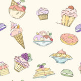 Seamless pattern of cakes. Pies and ice cream. Cake and ice cream pattern can be used for wallpaper, website background, wrapping paper. Hand drawn illustration Royalty Free Stock Photos