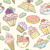Seamless pattern of cakes Stock Photography