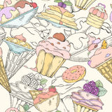 Seamless pattern of cakes. Pies and ice cream. Cake and ice cream pattern can be used for wallpaper, website background, wrapping paper. Hand drawn illustration Stock Photo