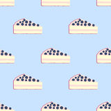 Seamless pattern of cakes, pies - yogurt, cream, berries. Flat style Royalty Free Stock Image
