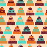 Seamless pattern with cakes in retro style Royalty Free Stock Images