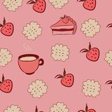 Seamless pattern with cakes, strawberries and coff Stock Images