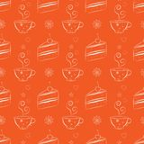 Seamless pattern with cakes and teacups. Flat seamless background with line drawing cake slices and tea cups. Dessert theme. Bright and unique background for Stock Photography