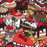 Seamless pattern with cakes Stock Photos