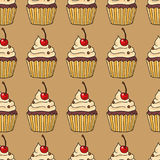 Seamless pattern with cakes, vector illustration stock photos