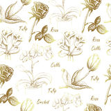 Seamless pattern with calla lily, tulip, orchid, and rose on white Stock Image