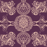 Seamless pattern with calligraphic decorative elements.Cover ornament for playing cards or book. Stock Photo