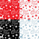 Seamless pattern with calligraphic text Merry Christmas Royalty Free Stock Images