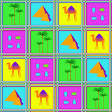 Seamless pattern with camels, beetles and palm trees Stock Photos