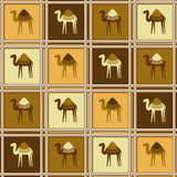 Seamless pattern with camels Stock Photos