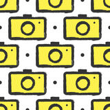Seamless pattern with cameras. Grunge, ink, watercolour. Royalty Free Stock Image