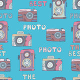 Seamless pattern of cameras photo hand-drown doodles . Stock Photo