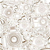 Seamless Pattern of Cameras with speech bubble Royalty Free Stock Image