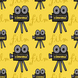 Seamless pattern with cameras Royalty Free Stock Photos