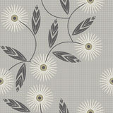 Seamless pattern with camomile flowers on checkered background Royalty Free Stock Photo